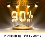 scene golden 90 sale off text... | Shutterstock .eps vector #1455268043
