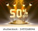 scene golden 50 sale off text... | Shutterstock .eps vector #1455268046