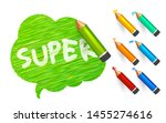 banner paint with pencils. hand ...   Shutterstock .eps vector #1455274616