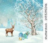 christmas winter scene. vector... | Shutterstock .eps vector #1455290246
