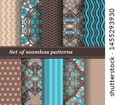 set of trendy seamless floral... | Shutterstock .eps vector #1455293930