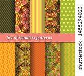 set of trendy seamless floral... | Shutterstock .eps vector #1455294023