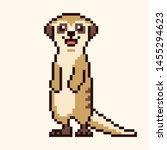 Meerkat Cartoon Cute Pixel...