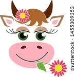 cow head  cute face  vector | Shutterstock .eps vector #1455309353