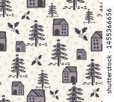 seamless pattern. hand drawn... | Shutterstock .eps vector #1455366656