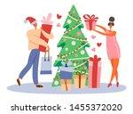flat cartoon man in santa's hat ... | Shutterstock .eps vector #1455372020