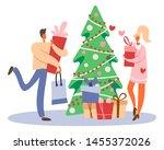 flat cartoon man with gift box... | Shutterstock .eps vector #1455372026