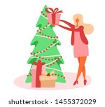 flat cartoon girl or woman... | Shutterstock .eps vector #1455372029