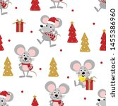 cute mouse in winter costume... | Shutterstock .eps vector #1455386960