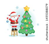 merry santa claus with... | Shutterstock .eps vector #1455388079