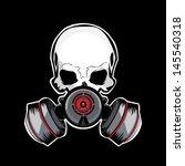 Skull Gas Mask Illustration