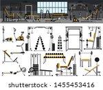 gym interior icon set.fitness...   Shutterstock .eps vector #1455453416