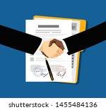 contract agreement  flat... | Shutterstock .eps vector #1455484136