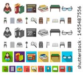 library and bookstore cartoon... | Shutterstock . vector #1455487556