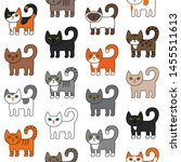 Stock vector various cats seamless pattern cute and funny cartoon kitty cat vector illustration different cat 1455511613