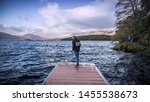 a male standing on the wooden... | Shutterstock . vector #1455538673