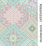 seamless paisley pattern with... | Shutterstock . vector #1455545906