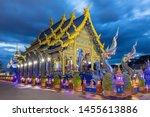 Blue Temple In Twilight Of Wat...