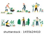 People Gardening. Woman...
