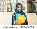 smiling muslim young female... | Shutterstock . vector #1455636299