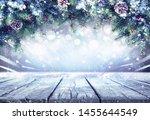 festive christmas stage scene ...   Shutterstock . vector #1455644549