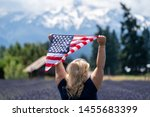blonde woman standing in a... | Shutterstock . vector #1455683399