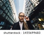 young business lady in glasses... | Shutterstock . vector #1455699683