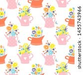flowers in watering can vintage ... | Shutterstock .eps vector #1455743966