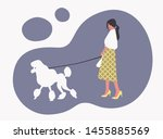 Stock vector fashion girl with a white poodle vector illustration 1455885569