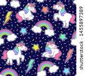cute unicorn  rainbow  star ... | Shutterstock .eps vector #1455897389