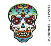 sugar skull   mexico   dia de...   Shutterstock . vector #145590958