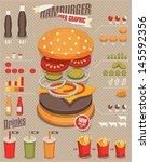 hamburger   fast food info... | Shutterstock .eps vector #145592356