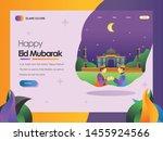 slamic flat illustration mosque ... | Shutterstock .eps vector #1455924566