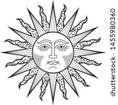 sun face black white tattoo ... | Shutterstock .eps vector #1455980360
