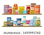 supermarket  shelves with... | Shutterstock .eps vector #1455991763