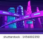 futuristic neon night city with ... | Shutterstock .eps vector #1456002350