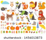autumn forest animals. fall... | Shutterstock .eps vector #1456013873