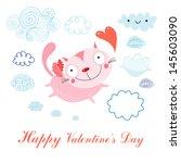 funny pink cat lover in flight... | Shutterstock .eps vector #145603090
