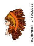 drawing an indian feather hat... | Shutterstock .eps vector #1456033133