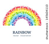 rainbow made from hands.... | Shutterstock .eps vector #145604110