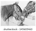 pencil drawing of two draft... | Shutterstock . vector #145605463