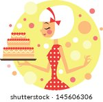 girl with big party cake | Shutterstock .eps vector #145606306