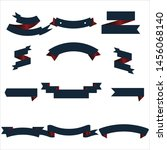 navy blue and red ribbon set... | Shutterstock .eps vector #1456068140