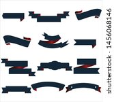 navy blue and red ribbon set... | Shutterstock .eps vector #1456068146