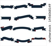 navy blue and red ribbon set... | Shutterstock .eps vector #1456068149