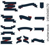 navy blue and red ribbon set... | Shutterstock .eps vector #1456068170