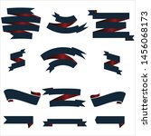 navy blue and red ribbon set... | Shutterstock .eps vector #1456068173