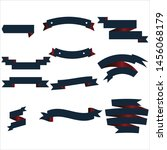 navy blue and red ribbon set... | Shutterstock .eps vector #1456068179