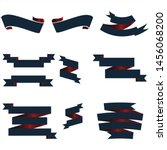 navy blue and red ribbon set... | Shutterstock .eps vector #1456068200