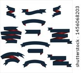 navy blue and red ribbon set... | Shutterstock .eps vector #1456068203